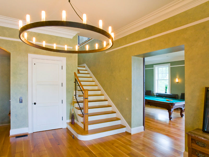 View of Entry Hall in historic carriage house remodel by Kepes Architecture