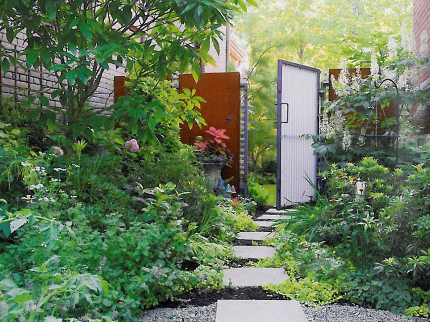 Modern entry gate from inside garden in Kentucky