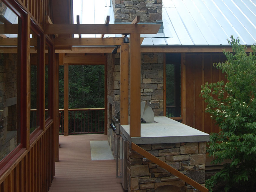 Modern porch design by Kepes Architecture for mountain home