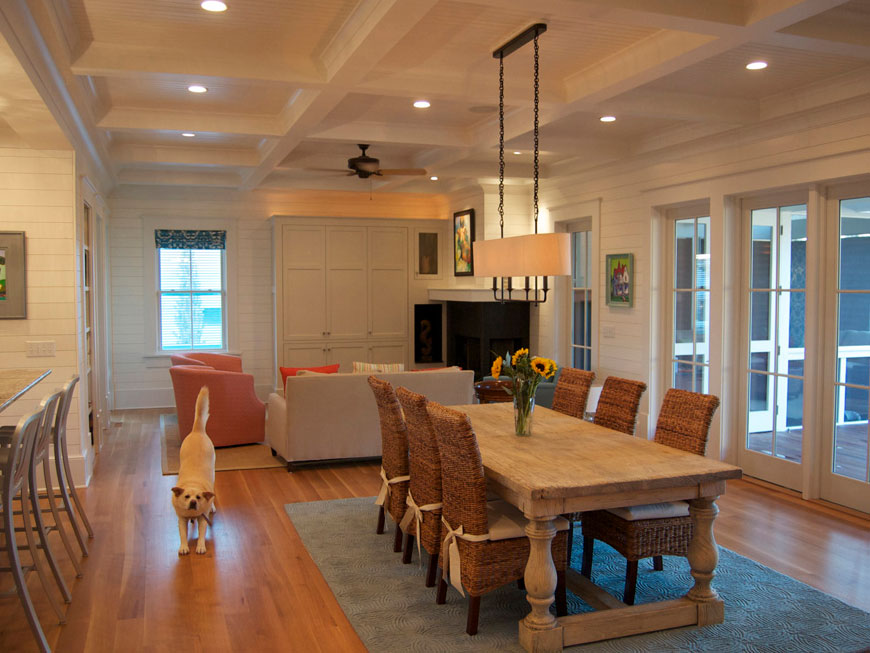 Sustainable interior wood walls in Dining Room / Family Room of Sullivan's Island home